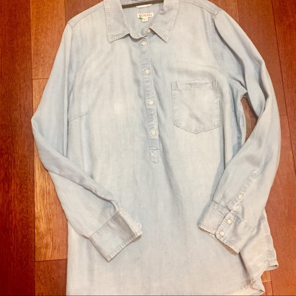 057a774f Merona denim button down shirt women XXL. M_5b46b0d56a0bb7511a95471f